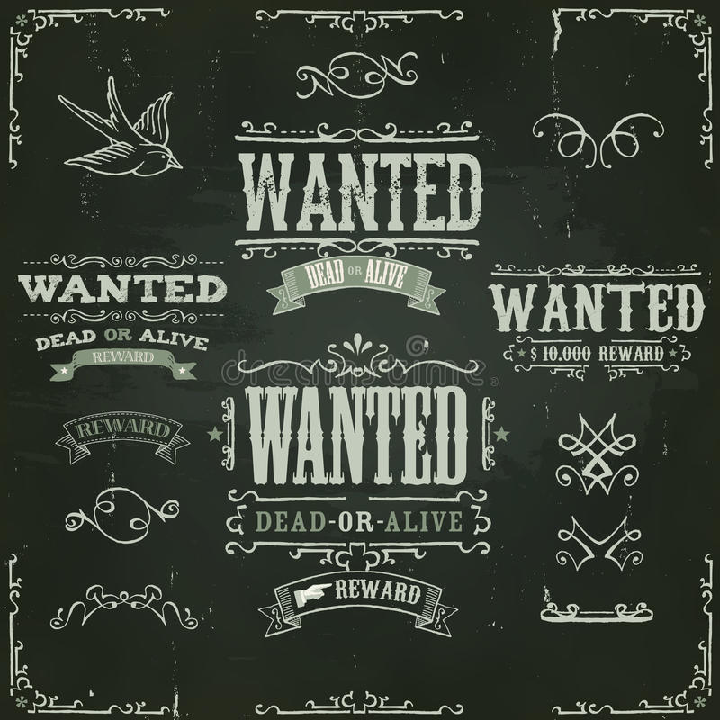 Хотят винтажные западные знамена на доске иллюстрация штока