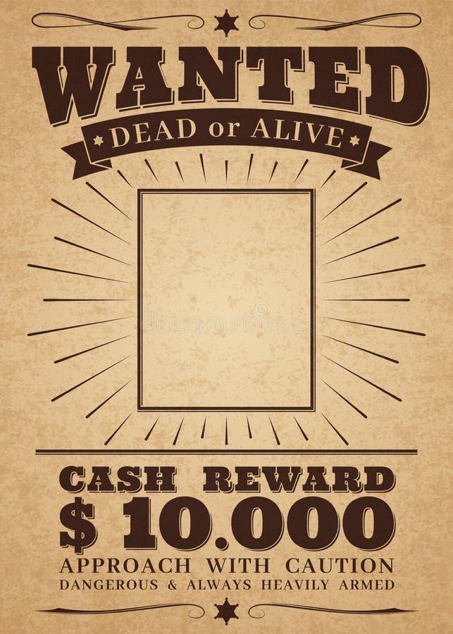 Хотят винтажный западный плакат Мертвый или живой изгой преступления Хотеть для знамени вектора вознаграждением ретро иллюстрация штока
