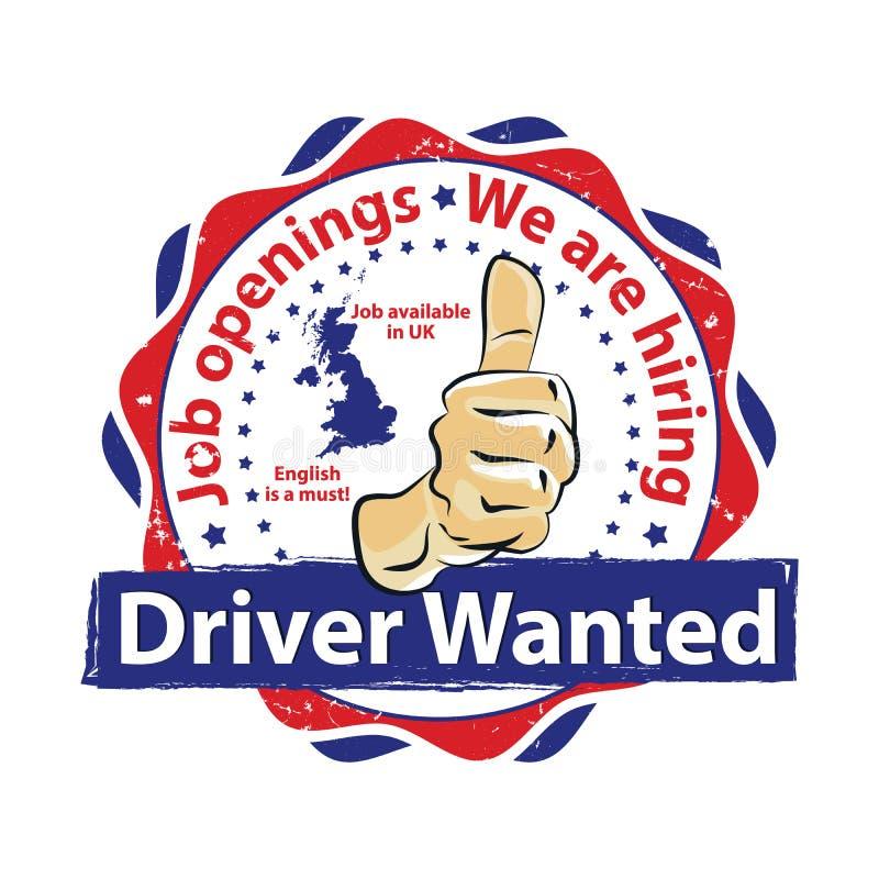 Хотят водители, который, работы в Великобритании иллюстрация штока