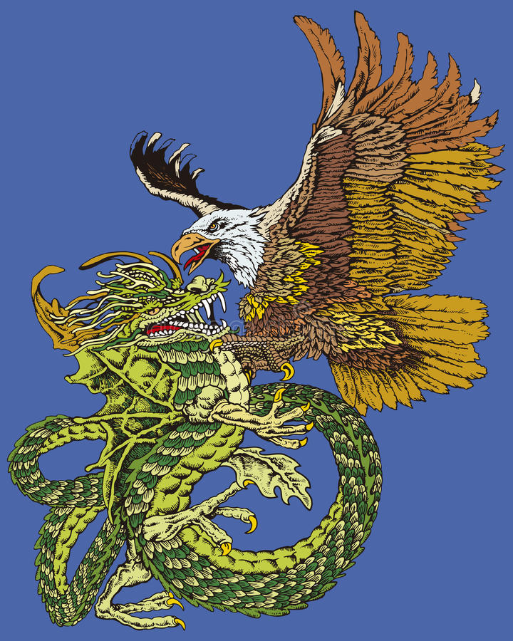 хоук бой дракона иллюстрация вектора