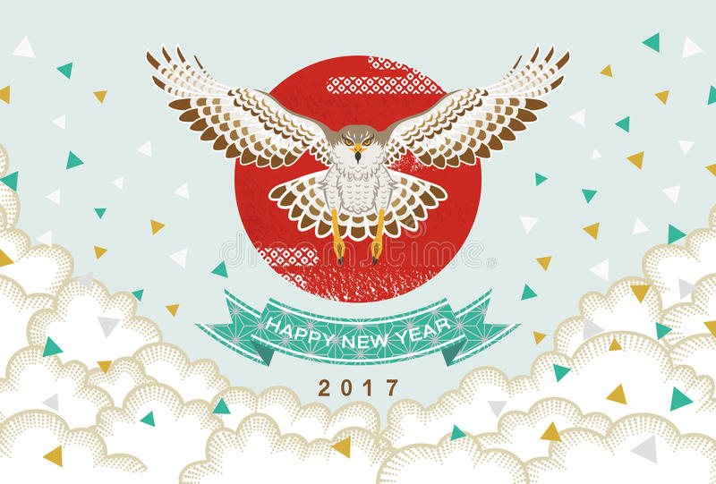 Хоук летания в Confetti - карточку Нового Года иллюстрация вектора