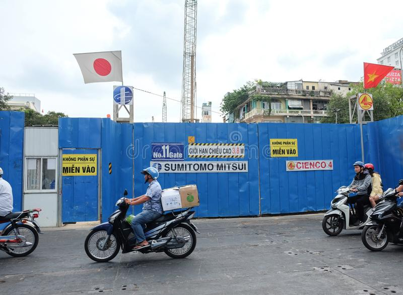 Хошимин, Вьетнам - 29-ое апреля 2018: Строительная площадка линии метро Хошимина для городского транспорта стоковое фото