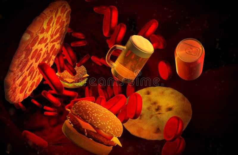 Холестерол преградил артерию, медицинскую концепцию иллюстрация вектора