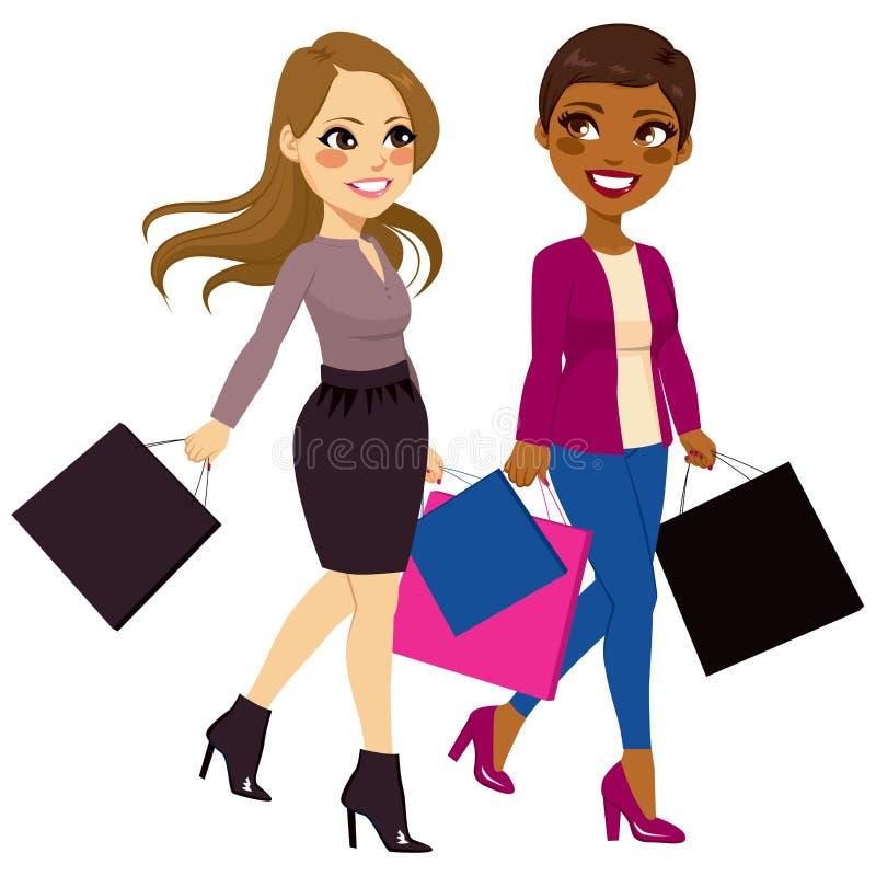Ходить по магазинам женщин лучших другов иллюстрация вектора