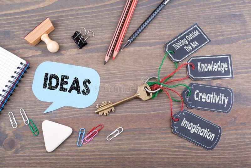 ходить по магазинам идей травы принципиальной схемы тележки шарика Ключ к успеху на деревянном столе офиса стоковое фото rf