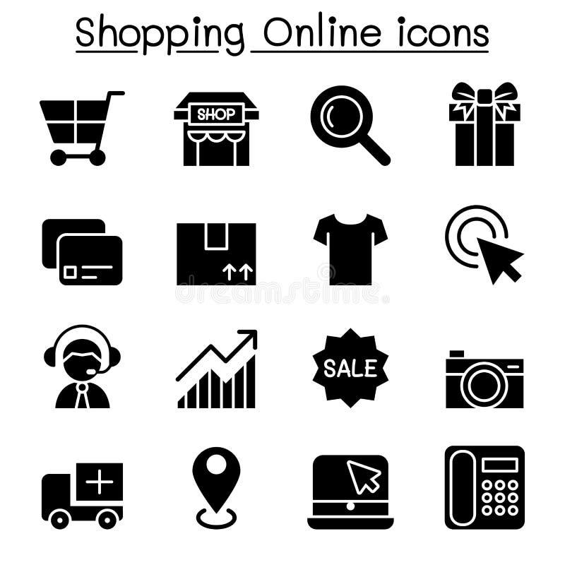 Ходить по магазинам онлайн & значок электронной коммерции комплект иллюстрация штока