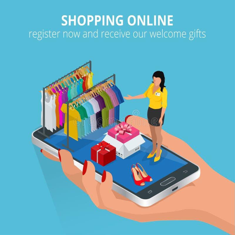 Ходить по магазинам он-лайн передвижной магазин Плоская иллюстрация для обслуживаний сети и мобильного телефона и apps Плоский ве бесплатная иллюстрация