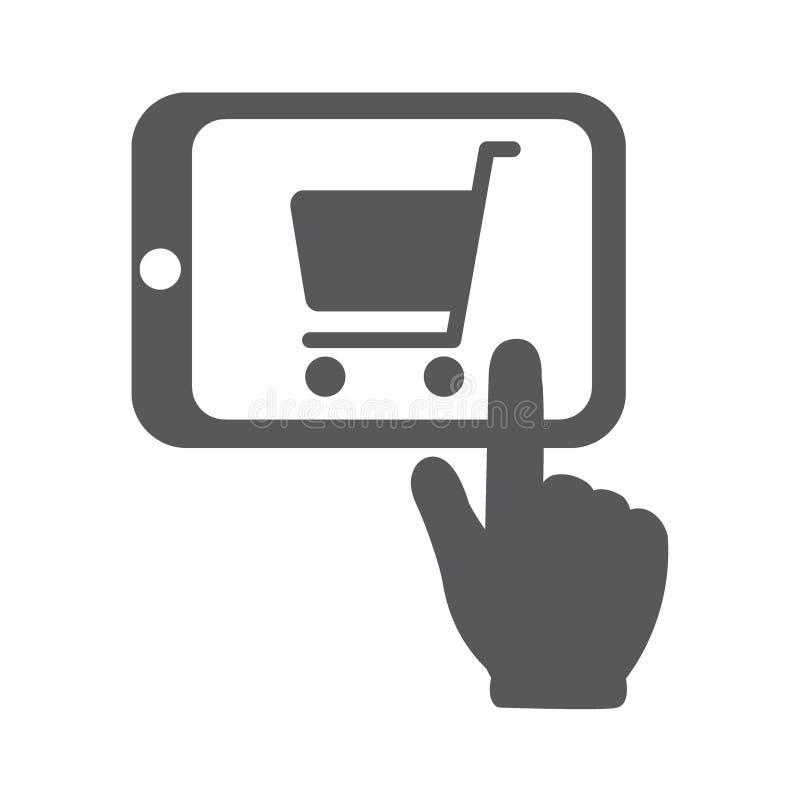 Ходить по магазинам онлайн с ПК таблетки иллюстрация штока