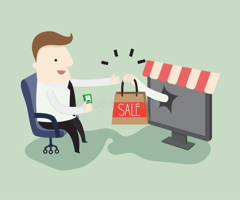 Ходить по магазинам он-лайн иллюстрация штока