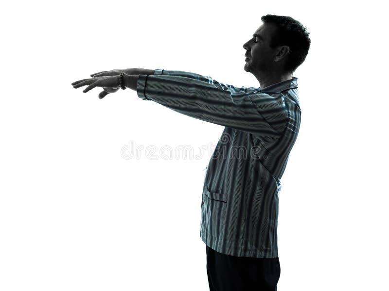 Ходить sleepwalker пижам человека стоковое изображение rf