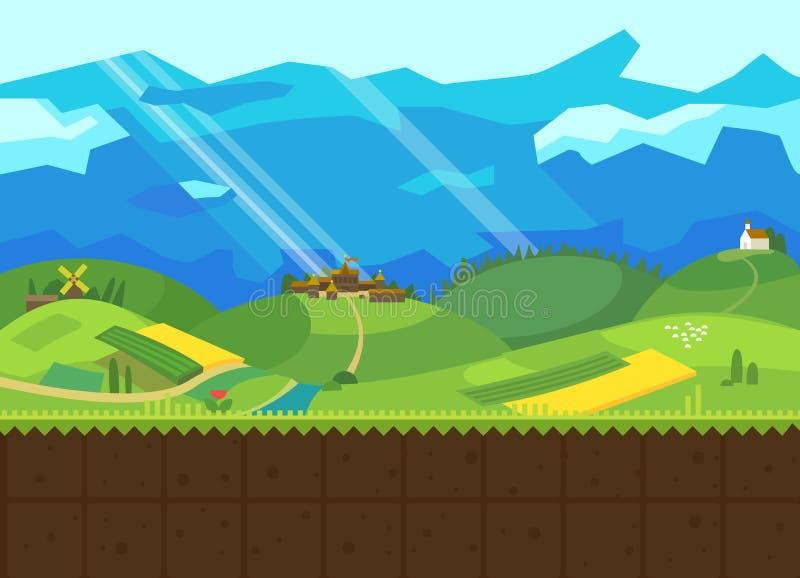 Холмы и долина иллюстрация вектора
