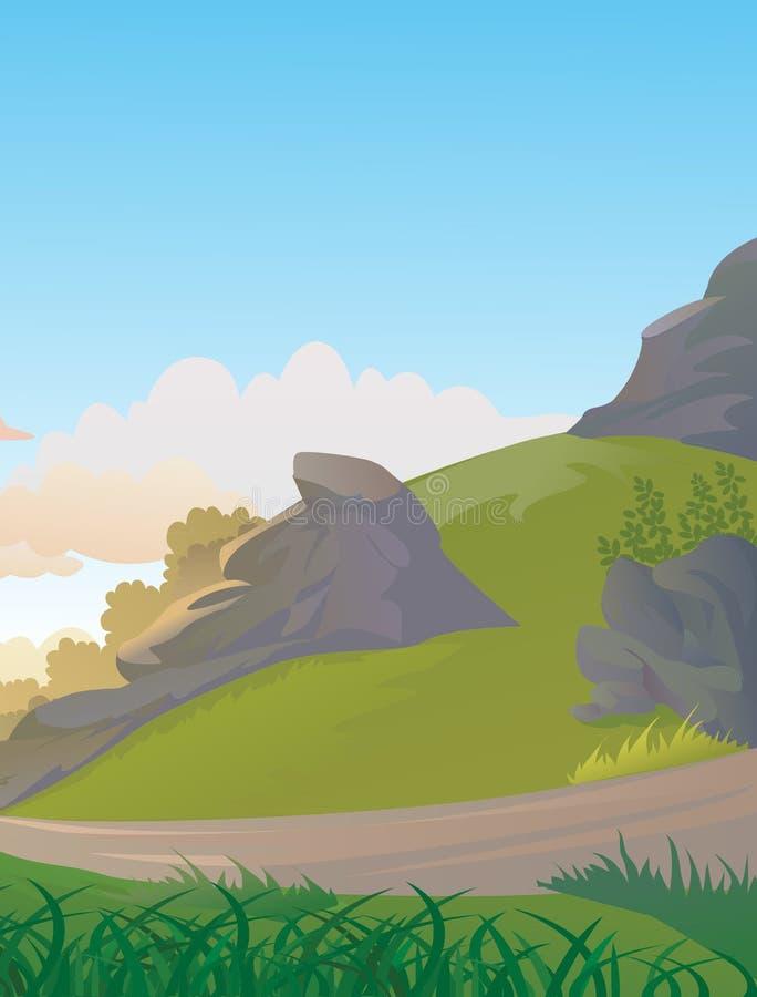 Холмы страны бортовые скалистые с путем иллюстрация вектора