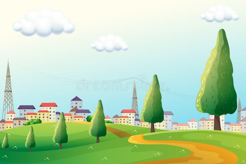 Холмы через район иллюстрация вектора