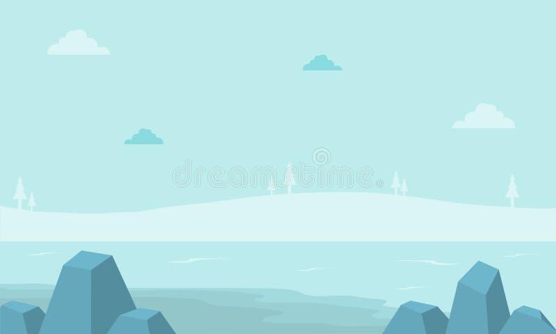 Холм ландшафта с туманом для предпосылок игры бесплатная иллюстрация