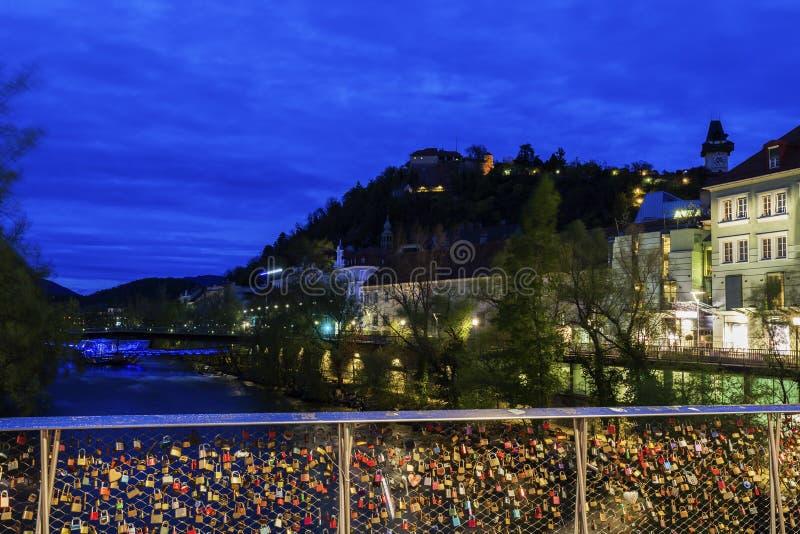 Холм замка и река Mur стоковая фотография