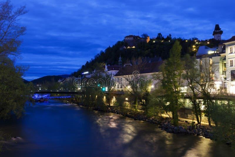 Холм замка и река Mur стоковая фотография rf