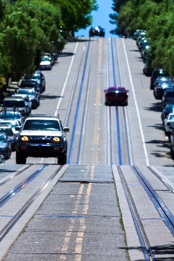 Холм Nob улицы Сан-Франциско Hyde в Калифорнии стоковые изображения rf
