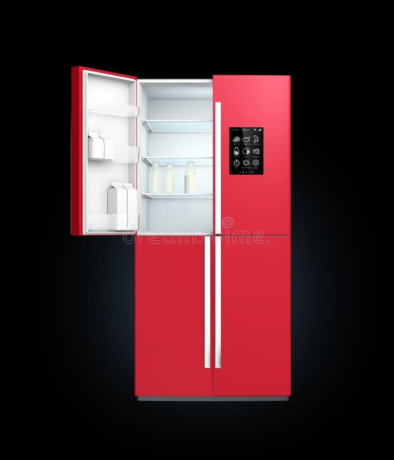 Холодильник красного цвета вина умный с экраном LCD Люди могут знать какая потребность купить затем иллюстрация вектора