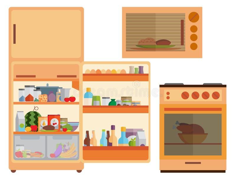 Холодильник с едой, печью, микроволной бесплатная иллюстрация