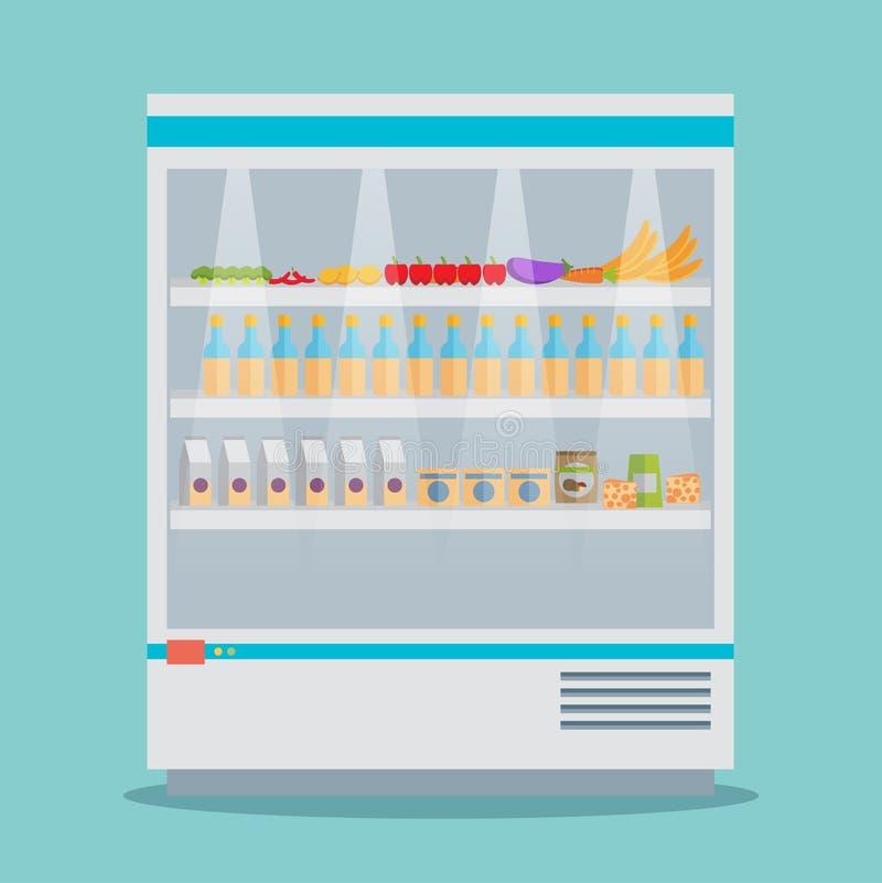 Холодильник thermocool супермаркета shelves собрание еды бесплатная иллюстрация