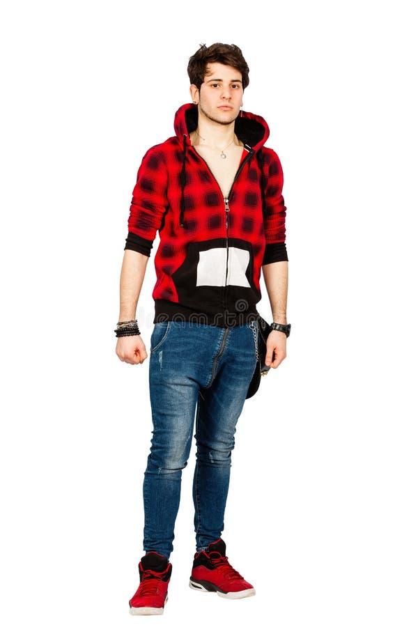 Холодная городская модель молодого человека Красивый мальчик с фуфайкой на белизне PNG стоковые изображения rf