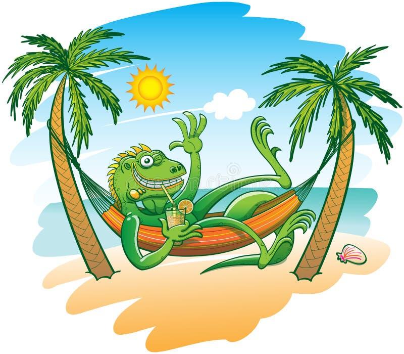 Холодная игуана наслаждаясь праздниками в гамаке на пляже иллюстрация штока