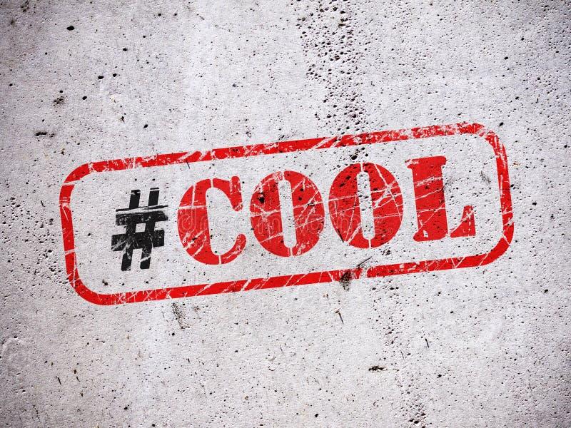 Холодное hashtag на стене иллюстрация штока