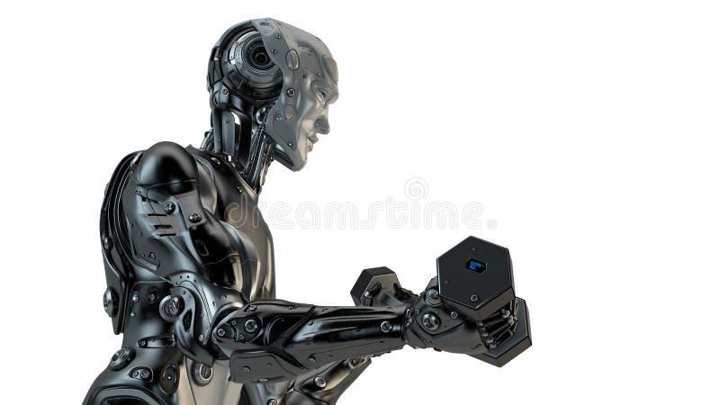 Холодные сильные гантели подъема робота иллюстрация вектора