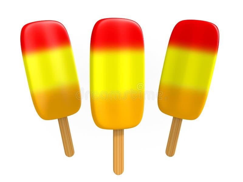 Холодные popsicles плодоовощ с вишней, бананом, и оранжевыми слоями бесплатная иллюстрация