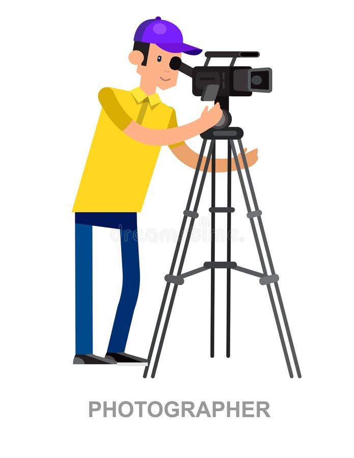 Холодный детальный фотограф характера иллюстрация вектора