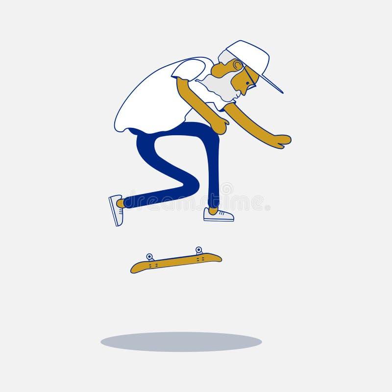 Холодный конькобежец битника вектора с бородой и солнечные очки делая фокус на скейтборде иллюстрация штока