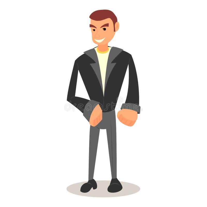 Холодный парень шаржа с в вскользь одеждами бесплатная иллюстрация