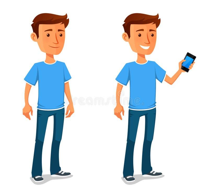 Холодный парень шаржа с сотовым телефоном бесплатная иллюстрация