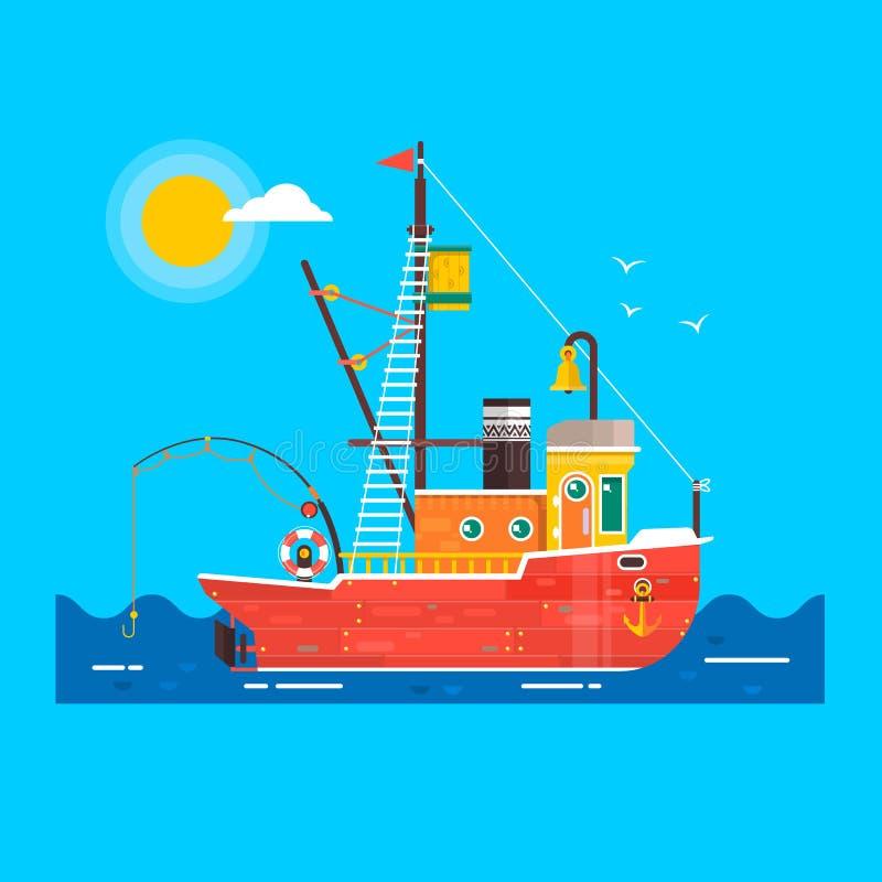 Холодный плоский транспорт seaway рыбацкой лодки дизайна Элемент графического дизайна рыболовецкого судна декоративный вектор бесплатная иллюстрация