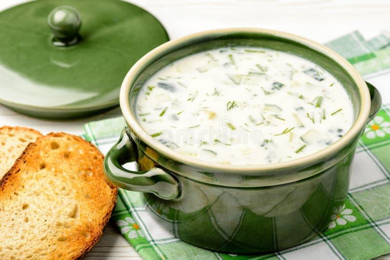 Холодный суп лета с овощами и югуртом (okroshka) суп русского кухни крупного плана borscht стоковое изображение