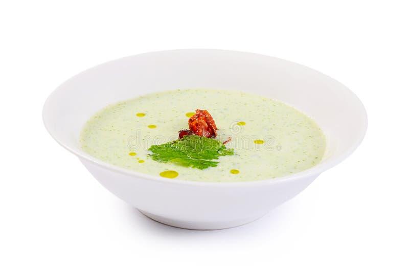 Холодный суп огурца с семенами сезама стоковое фото rf