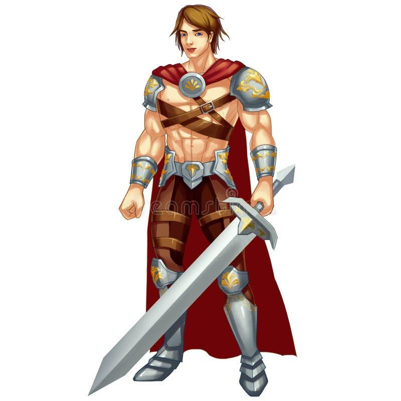 Холодный характер: Греческий герой, бог войны на белой предпосылке бесплатная иллюстрация