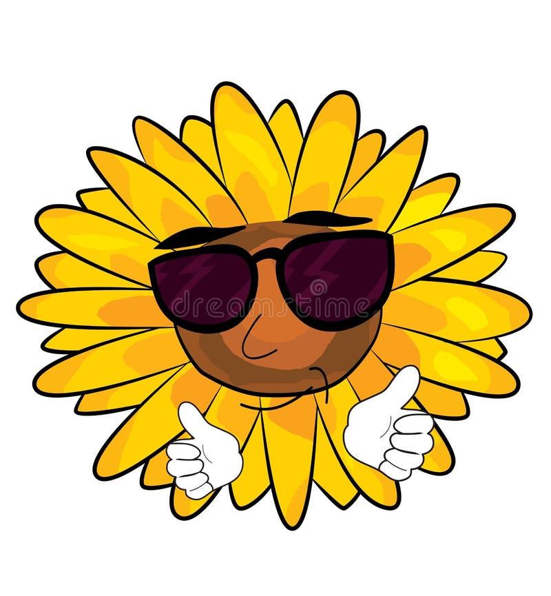 Холодный шарж солнцецвета иллюстрация штока