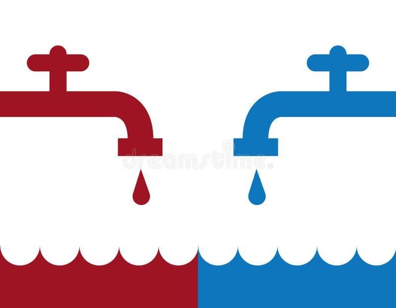 Холод Faucet воды горячий иллюстрация вектора