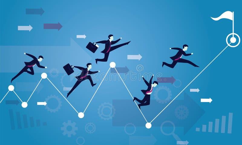 ход принципиальной схемы конкуренции бизнесмена дела портфеля Гонка к успеху иллюстрация штока