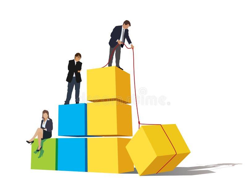ход принципиальной схемы конкуренции бизнесмена дела портфеля иллюстрация штока