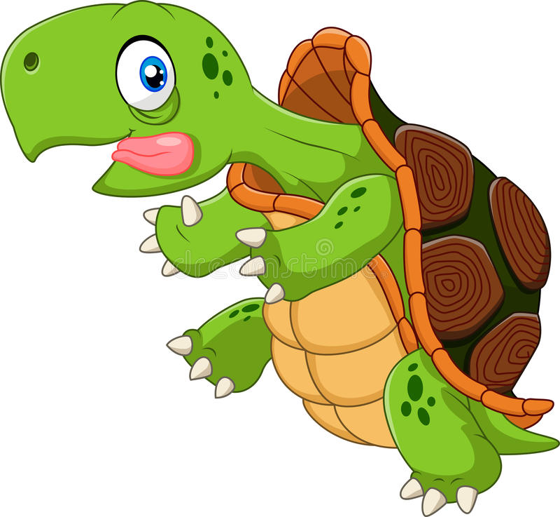 Ход черепахи шаржа смешной иллюстрация вектора