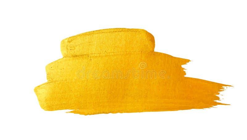 Ход щетки вектора золотой Пятно краски текстуры акварели изолированное на белизне Абстрактная рука покрасила предпосылку для прив стоковая фотография