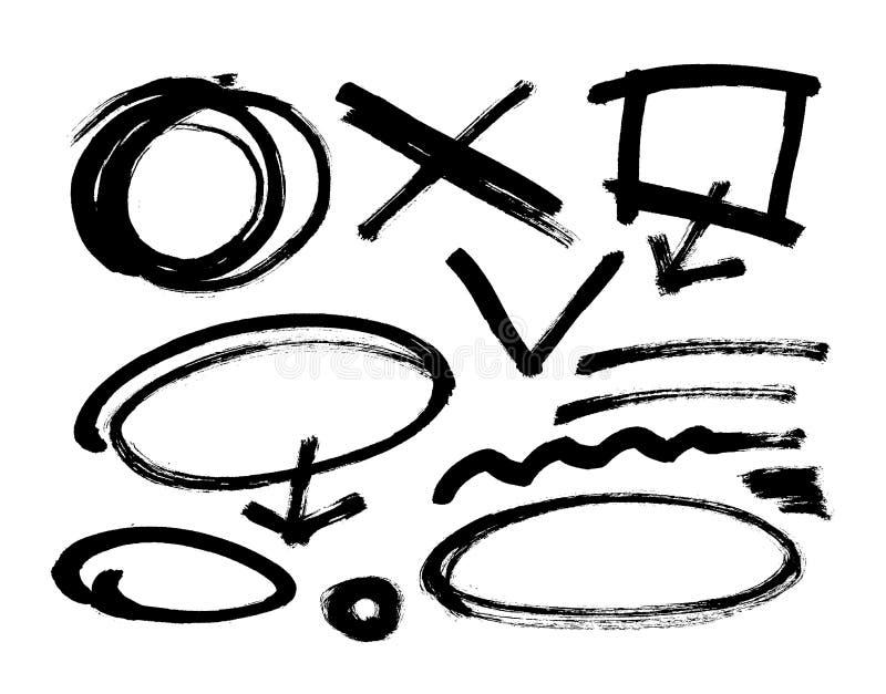 Ход щетки Grunge вектор Различная щетка grunge штрихует черные элементы цвета Комплект иллюстрация штока