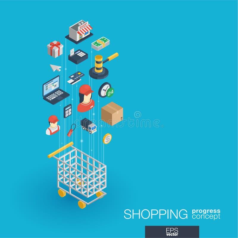 Ходя по магазинам интегрированные значки сети 3d Концепция роста и прогресса иллюстрация вектора