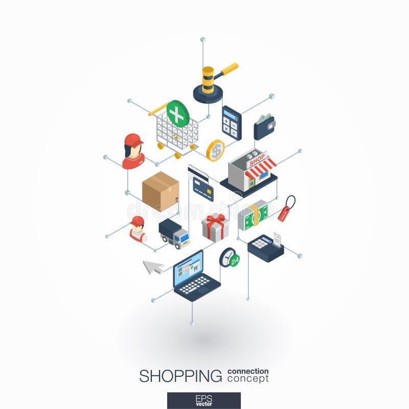 Ходя по магазинам интегрированные значки сети 3d Концепция цифровой сети равновеликая иллюстрация штока