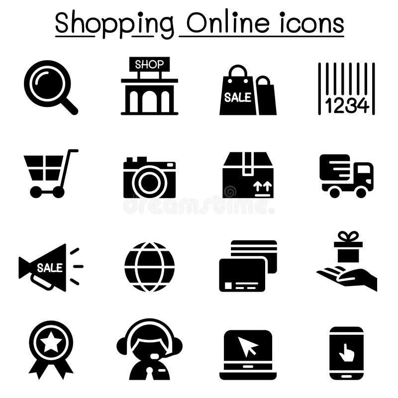 Ходя по магазинам онлайн значки иллюстрация штока
