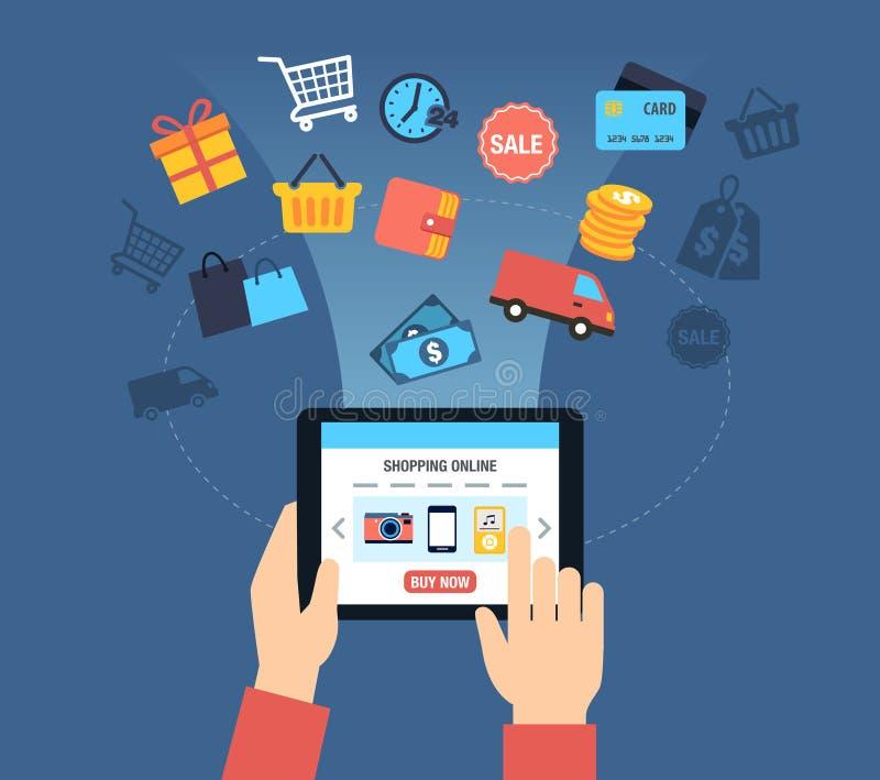 Ходя по магазинам онлайн предпосылка иллюстрация вектора