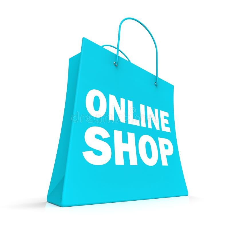 Ходя по магазинам онлайн сумка показывая приобретение интернета иллюстрация вектора