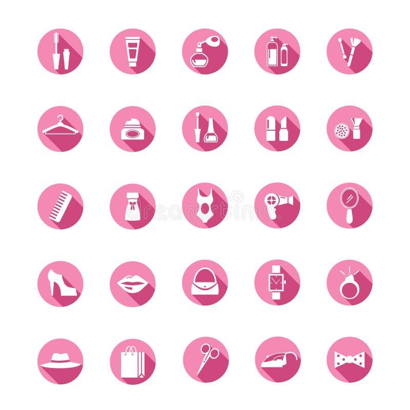 Ходя по магазинам розовые значки иллюстрация штока